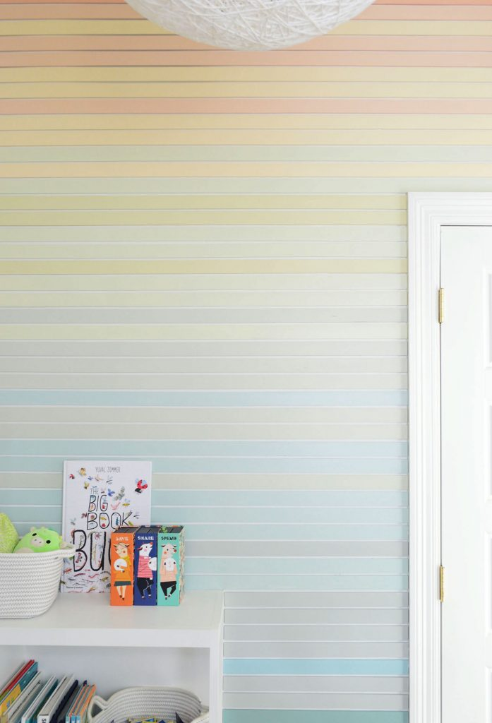Straight On View Of Striped Wall Treatment Going From Orange At Top To Blue At Bottom
