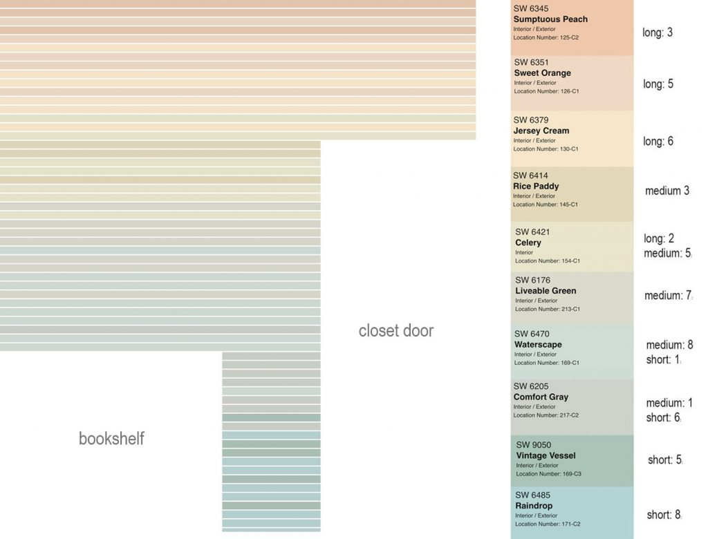 Digital Mock Up Of Striped Wall Treatment With Color Names And Quantities